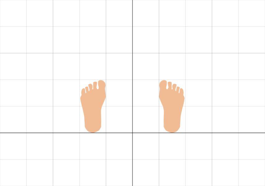 平行立ちの足の置く位置の目安